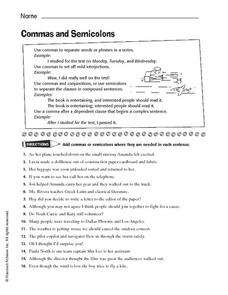 Commas and Semicolons Worksheet