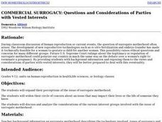 Commercial Surrogacy: Questions & Considerations of Parties with Vested Interests Lesson Plan