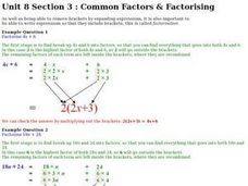 Common Factors and Factorising Worksheet