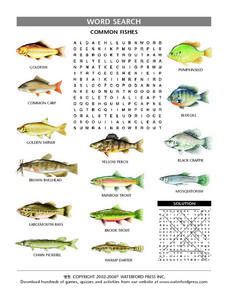Common Fishes Word Search Puzzle Lesson Plan