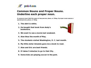 Common Nouns and Proper Nouns Worksheet