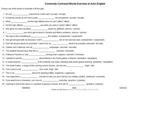 Commonly Confused Words Exercise at Auto-English All Grades ...