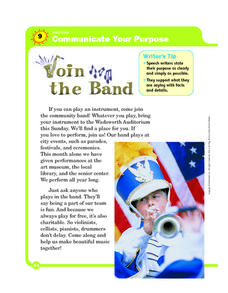Communicate Your Purpose: Join the Band Worksheet