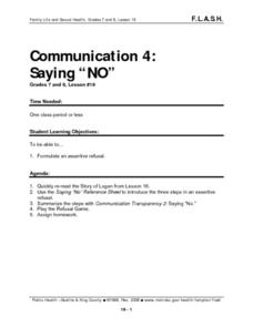 "Communication 4: Saying ""NO"" Lesson Plan"