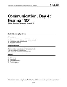 "Communication, Day 4: Hearing ""No"" Lesson Plan"