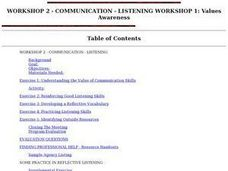 COMMUNICATION - LISTENING WORKSHOP 1: Values Awareness Lesson Plan
