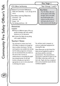 Community Fire Safety Officer's Talk Lesson Plan