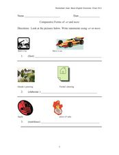 Comparative Forms of -er and More Worksheet