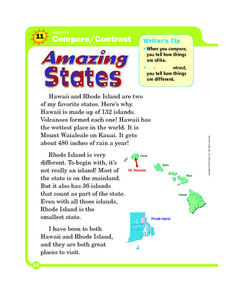 Compare and Contrast: Amazing States Worksheet