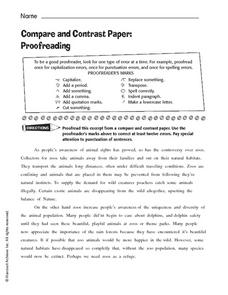 Compare and Contrast Paper: Proofreading Worksheet