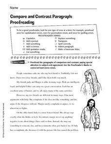 Compare and Contrast Paragraph: Proofreading Worksheet