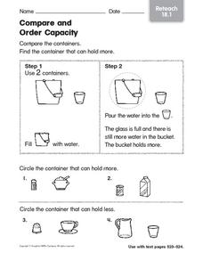 Compare and Order Capacity Worksheet