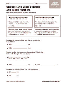Compare and Order Decimals and Mixed Numbers: ELL Worksheet