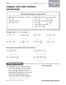 Compare and Order Fractions and Decimals - Homework Worksheet