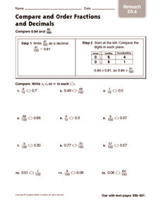 Compare and Order Fractions and Decimals: Reteach Worksheet