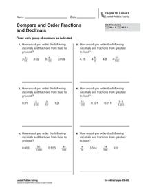 Compare and Order Fractions and Decimals Worksheet