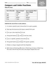 Compare and Order Fractions - ELL 19.4 Worksheet