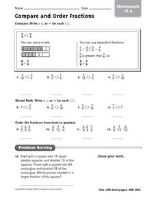 Compare and Order Fractions - Homework 19.4 Worksheet