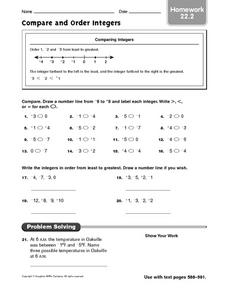 Compare and Order Integers: Homework Worksheet