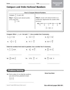 Printables Comparing And Ordering Rational Numbers Worksheet compare and order rational numbers homework 22 2 6th grade worksheet
