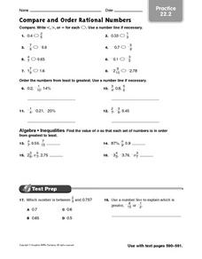 Worksheet Compare And Order Rational Numbers Worksheet compare and order rational numbers practice 22 2 6th grade worksheet