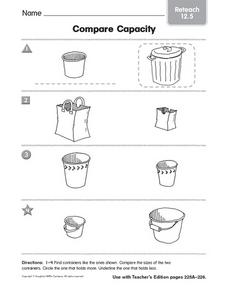 Compare Capacity Reteach 12.5 Pre-K - Kindergarten Worksheet ...