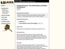 Compare/Contrast: The United States and Alaska Constitutions Lesson Plan