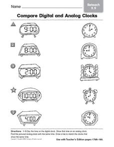compare digital an analog clocks reteach 9 9 1st 3rd grade worksheet lesson planet. Black Bedroom Furniture Sets. Home Design Ideas