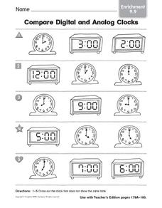 Compare Digital and Analog Clocks: Enrichment Worksheet