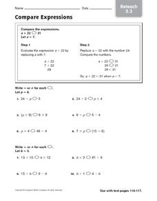 Compare Expressions Worksheet