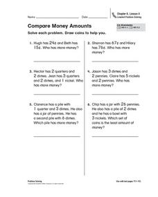 Compare Money Amounts Worksheet