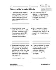 Compare Nonstandard Units Worksheet