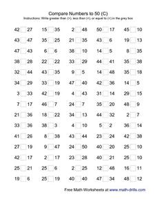 Compare Numbers to 50 (C) Worksheet