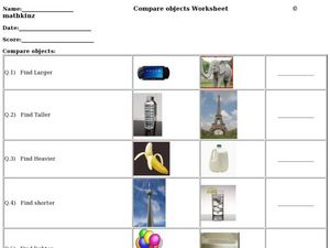 Compare Objects: Larger, Taller, Heavier, Shorter, Lighter Worksheet