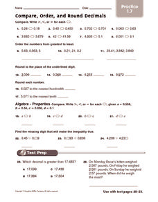 compare order and round decimals practice 5th 6th grade worksheet lesson planet. Black Bedroom Furniture Sets. Home Design Ideas
