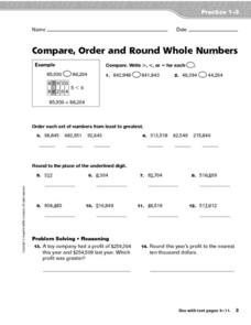Compare, Order and Round Whole Numbers Worksheet