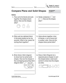 Compare Plane and Solid Shapes Worksheet