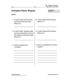 Compare Plane Shapes Worksheet
