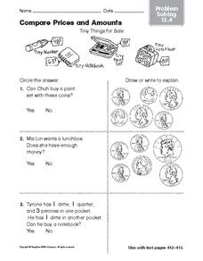 Compare Prices and Amounts: Problem Solving Worksheet