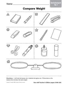 compare weight enrichment kindergarten 1st grade worksheet lesson planet. Black Bedroom Furniture Sets. Home Design Ideas