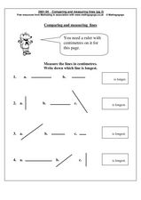 Comparing and Measuring Lines Worksheet