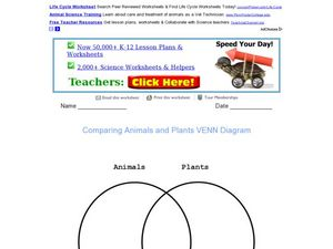Comparing Animals and Plants Venn Diagram Worksheet