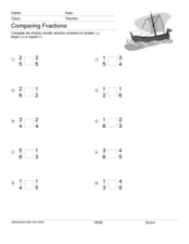 Comparing Fractions - Viking Ship Worksheet