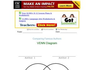 Comparing Great Authors: Venn Diagram Worksheet