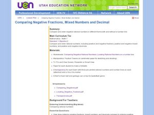 Comparing Negative Fractions, Mixed Numbers and Decimal Lesson Plan
