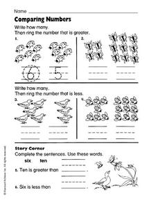 Comparing Numbers (Animals) Worksheet