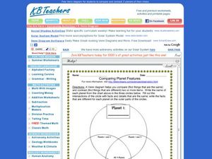 Comparing Planet Features Worksheet