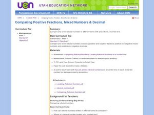 Comparing Positive Fractions, Mixed Numbers & Decimals Lesson Plan