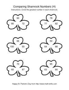 Comparing Shamrock Numbers (H) Worksheet