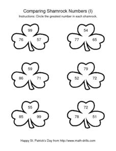 Comparing Shamrock Numbers (I) Worksheet